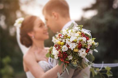 Wedding bride, groom and flowers