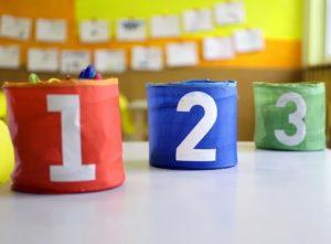 Numbered buckets at nursery school
